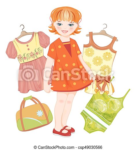 Pelirroja, bolsa y ropa para el verano - csp49030566