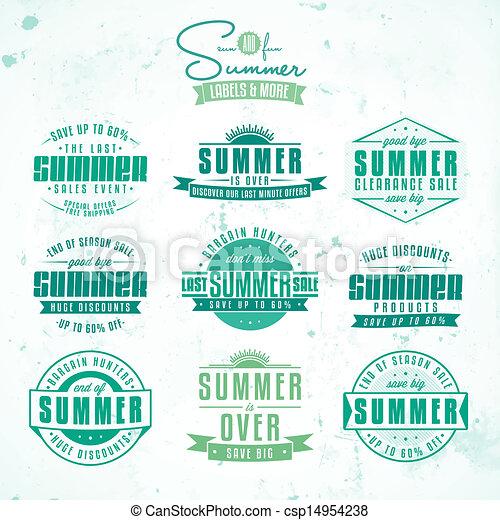 Ventas de verano relacionadas con etiquetas vintage - csp14954238