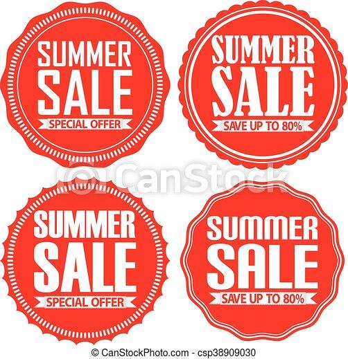 Venta de verano etiqueta roja, ilustración vectorial - csp38909030
