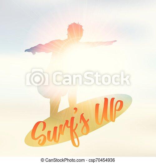 Silueta de un surfista en un fondo de verano desenfocado - csp70454936