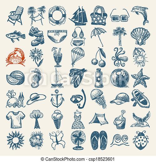 49 dibujos a mano de la colección de iconos de verano - csp18523601