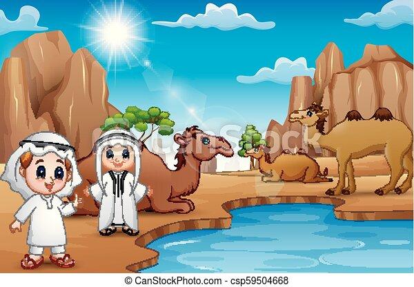 Los árabes permanecen en actividad en el desierto del verano - csp59504668