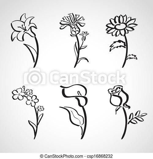 Estilo de tinta, flores de verano - csp16868232