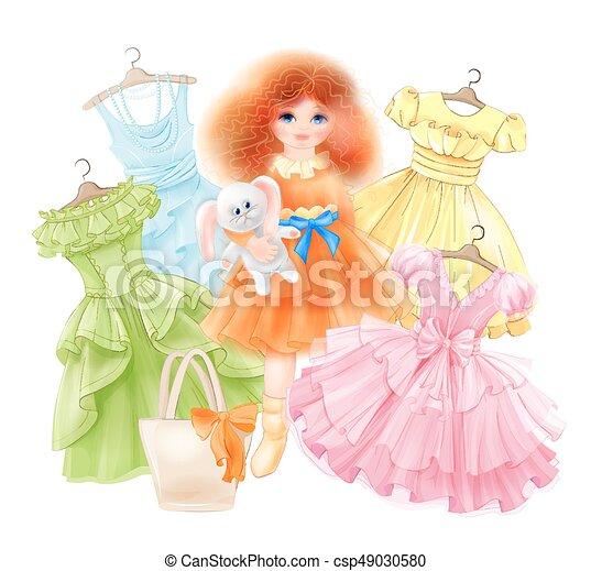 Chica glamorosa con conejito y vestidos festivos para la fiesta de verano. Estilo princesa - csp49030580