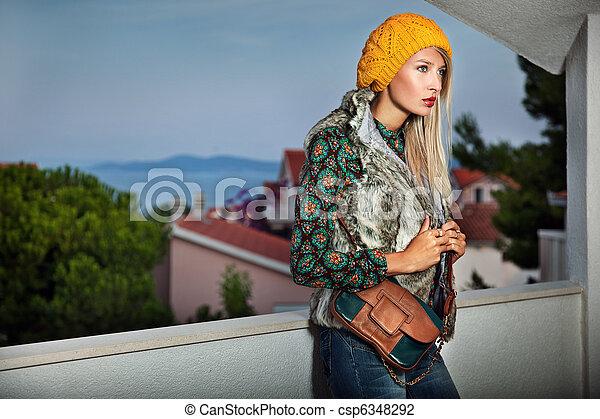 verano, estilo, moda, foto, joven, tarde, dama - csp6348292