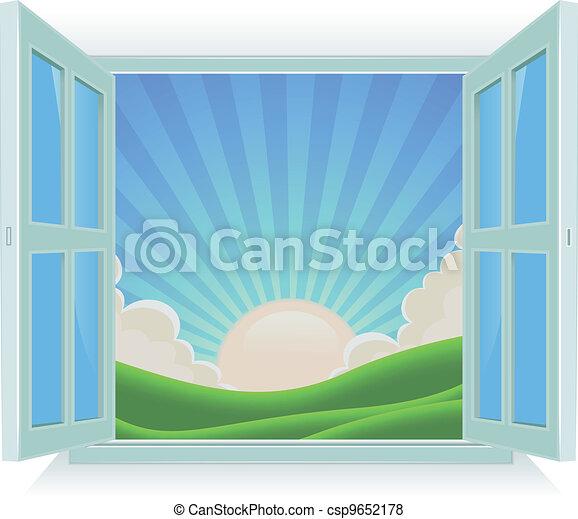 Un paisaje de verano fuera de la ventana - csp9652178