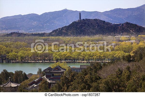Yu feng pagoda, del palacio de verano de Longevity Hill, posee porcelana china - csp1837287