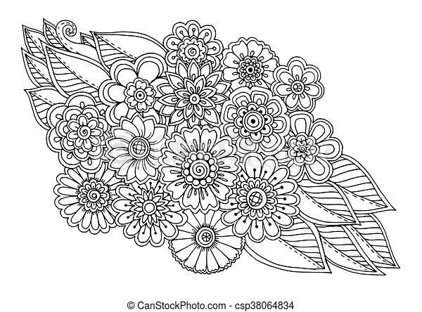 verano, flor, arte, garabato, ornamento, leaves., mano, fondo., mandala., negro, floral