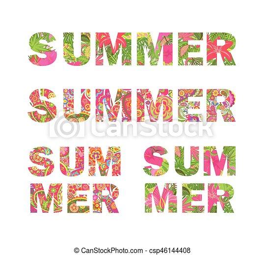 Verano, impresiones, colorido, letras, colección, camiseta ...