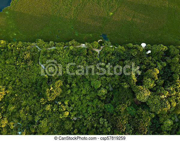 Vista aérea del atardecer en la laguna en Recreio dos Bandeirantes en un día de verano. La vegetación verde se puede ver en ambos lados, así como en las casas - csp57819259