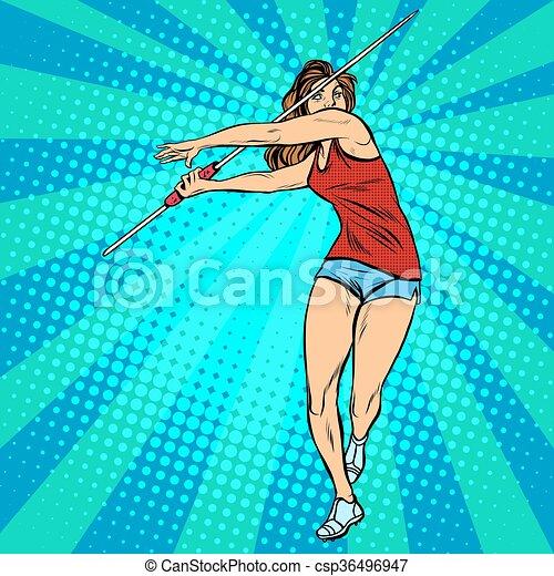 Verano, lanzamiento, atleta, juegos, niña, jabalina, atletismo ...