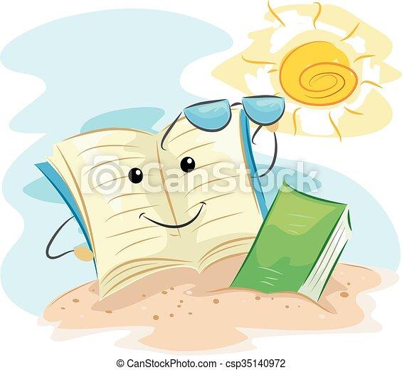 La mascota del libro de verano leyendo la playa - csp35140972