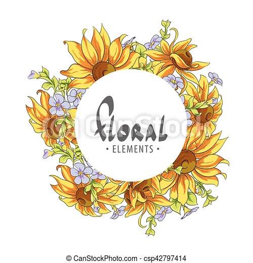Un marco redondo de flores de verano - csp42797414