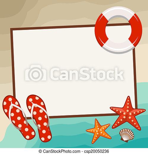Verano, marco, symbols., playa. Verano, symbols., marco, ilustración ...