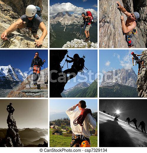 verano, montaña, collage, excursionismo, deportes, incluso, montañismo, montañismo - csp7329134