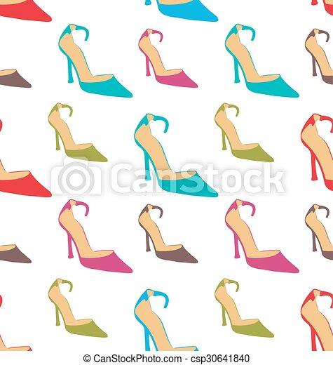 Textura sin costura con zapatos de verano de mujeres - csp30641840