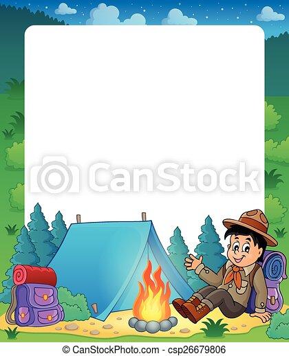 Verano, niño, marco, 1, tema, explorador. Verano, explorador, eps10 ...
