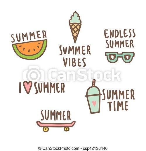 Un conjunto de lindos objetos de verano. - csp42138446