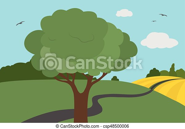 Una vista colorida de los prados y el campo alrededor de la carretera con arbustos y árboles con hojas bajo un cielo claro con nubes y aves voladoras en verano o otoño, adecuado para las vacaciones - ilustración vectorial - csp48500006