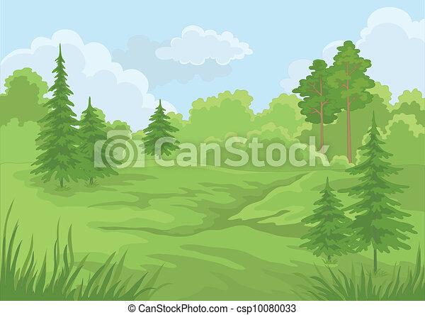 Paisaje, bosque de verano - csp10080033