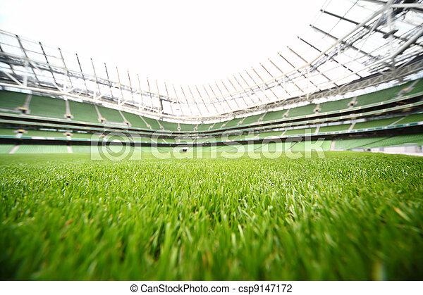 Hierba verde en gran estadio en el día de verano, gran campo de fútbol, profundidad de foco - csp9147172