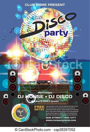 fbb16da2f3fd verano, pelota, playa, árboles, disco, vector, palma, plantilla de la  fiesta, noche, carteles, flyers., style., o, invitación, dj