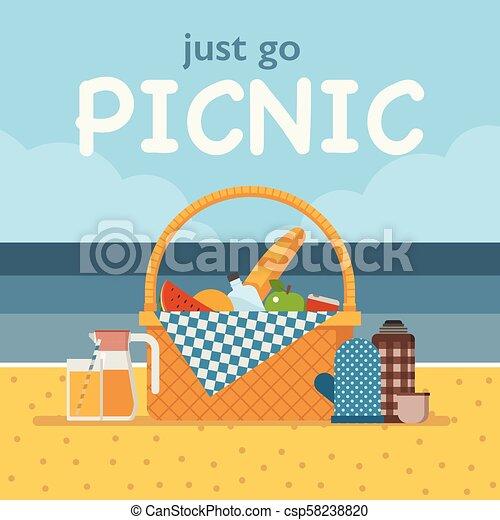 Tarjeta De Picnic O Invitación De Summer Beach Tarjeta De
