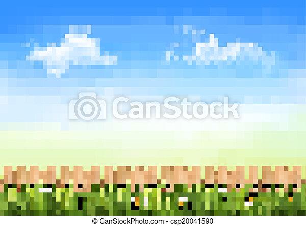 Antecedentes de la naturaleza de verano con hierba verde y cerca de madera. Vector. - csp20041590