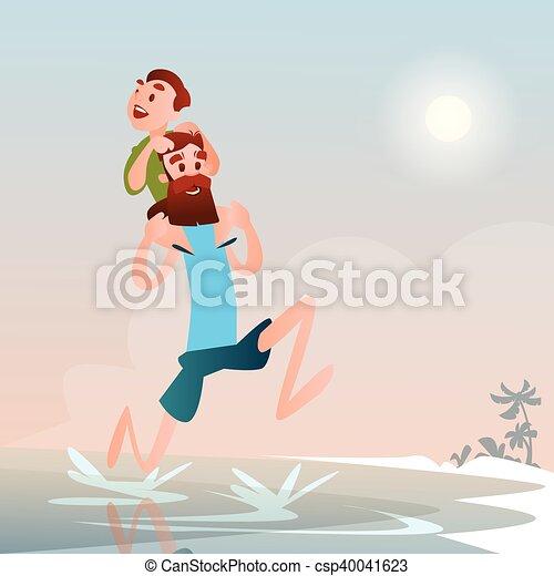 Padre con hijo en la playa vacaciones de verano - csp40041623