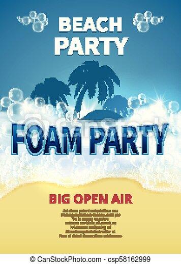 d58f9aeeeaa0 verano, poster., espuma, tropical, recurso, vector, invitación, fiesta,  burbujas, playa, jabón