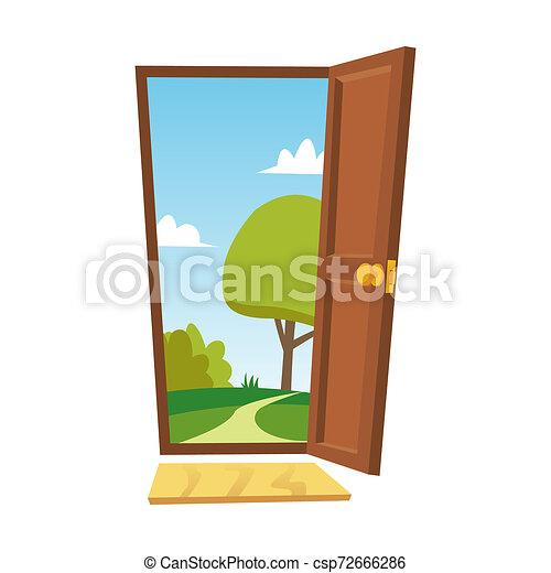 Puerta abierta. Un paisaje plano de verano. Vista frontal. El concepto de libertad. Ilustración aislada. - csp72666286