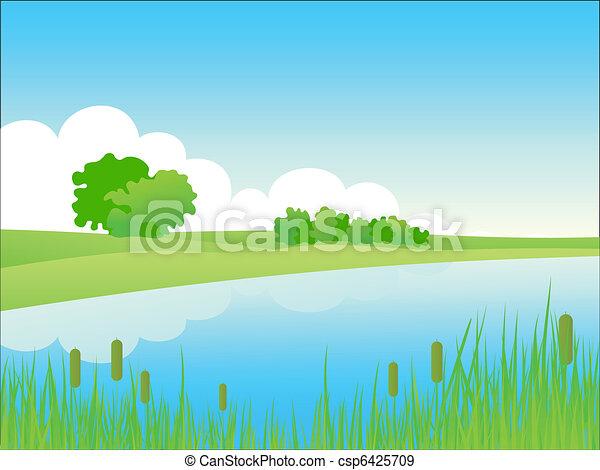 El paisaje de Summer Riverside. - csp6425709