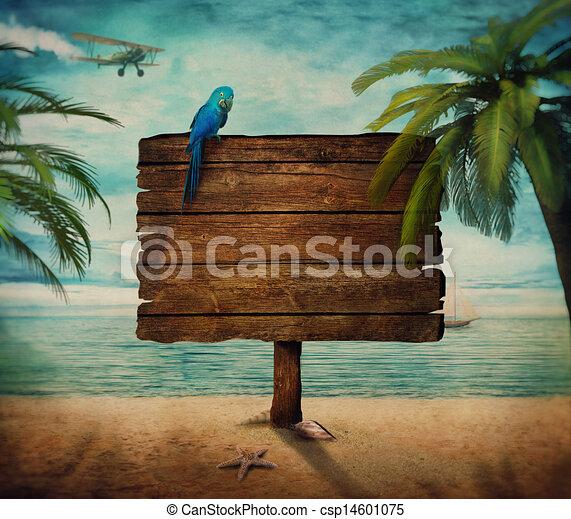 verano, -, señal, diseño, vista de mar - csp14601075