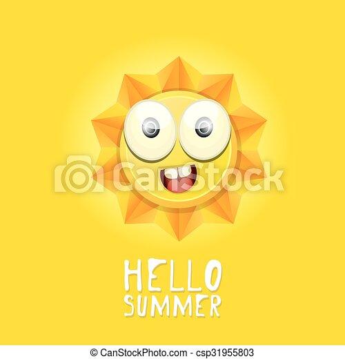 Hola verano. Vector Summer sonriendo sol - csp31955803