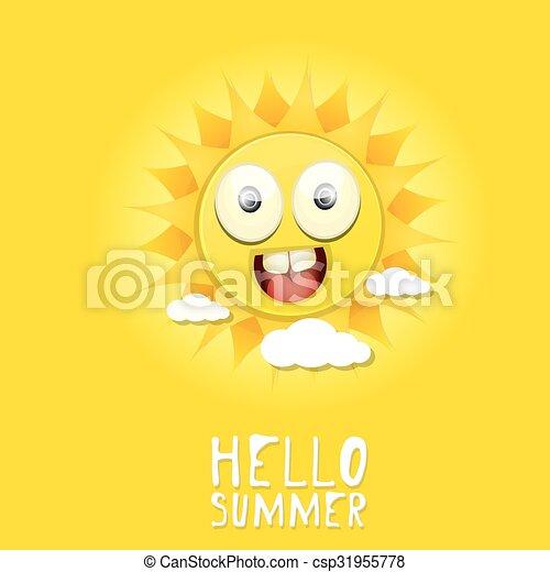 Hola verano. Vector Summer sonriendo sol - csp31955778