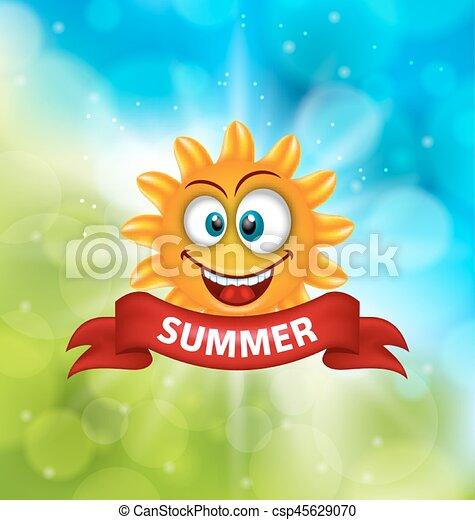 Antecedentes de verano con sol sonriente - csp45629070