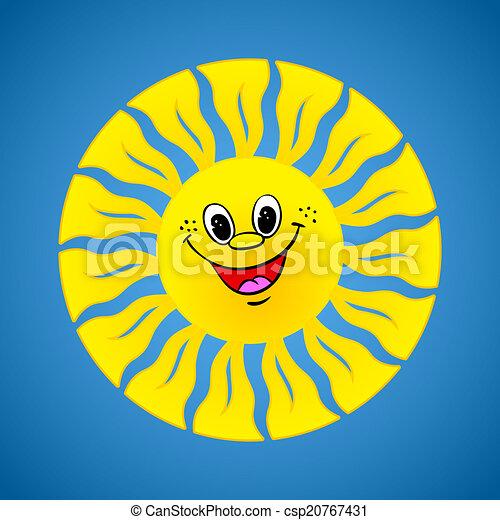 Sol sonriente amarillo en el fondo de verano - csp20767431