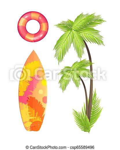 El verano de la tabla de surf establece ilustración de vectores de icono - csp65589496