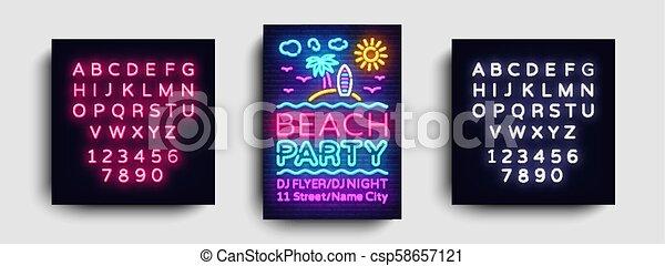 La plantilla de diseño de tarjetas de la fiesta de playa. Afiche de fiesta de verano en estilo neón, diseño moderno, bandera de la luz, fiesta de publicidad brillante, mecanografía de neón. Vector. Edición de texto signo neón - csp58657121