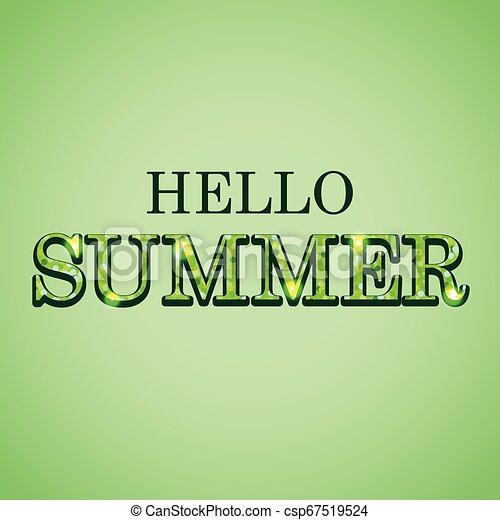 Hola texto brillante de verano sobre el fondo verde - csp67519524