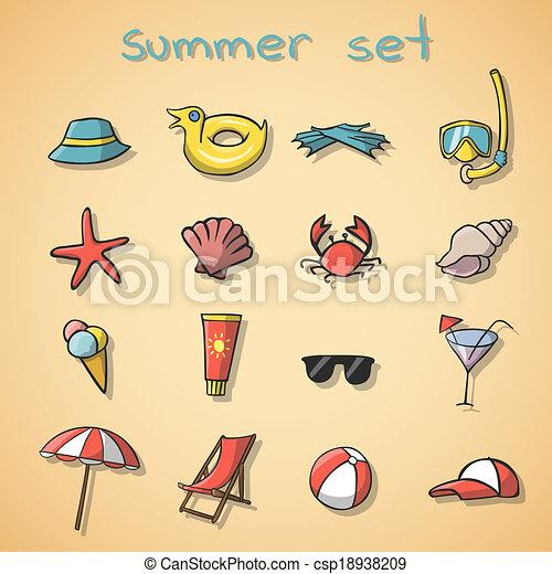 iconos de viaje de verano - csp18938209