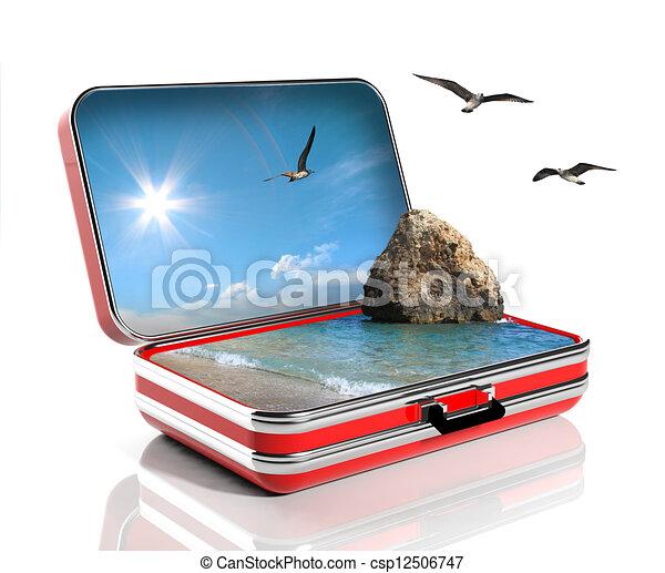 Un concepto de vacaciones de verano. Maletín de viaje con paisaje marino dentro - csp12506747