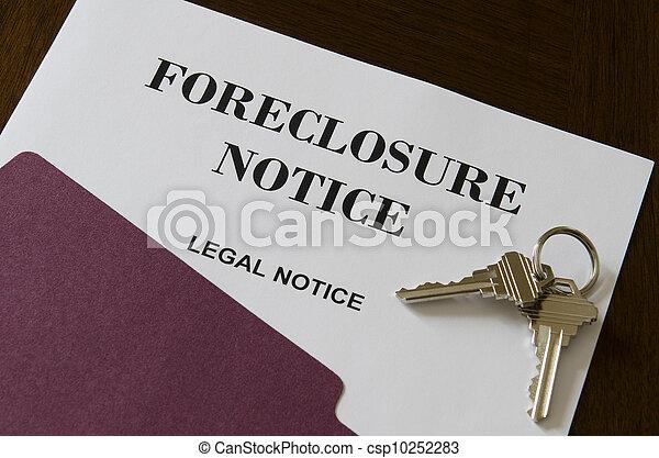 verdadero, aviso, propiedad, ejecución hipoteca, llaves, legal, hogar - csp10252283