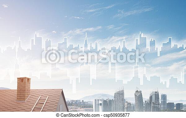 Concepto de bienes raíces y construcción con silueta dibujada en gran ciudad - csp50935877