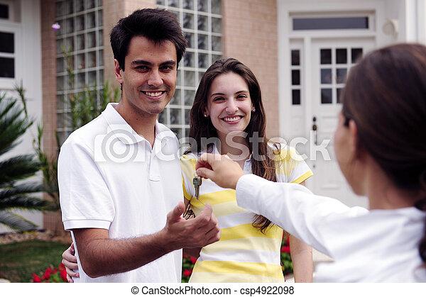 verdadero, entregar, propiedad, casa, encima, agente, llave - csp4922098
