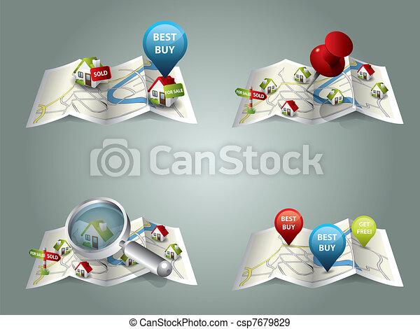 Mapas de bienes raíces - csp7679829
