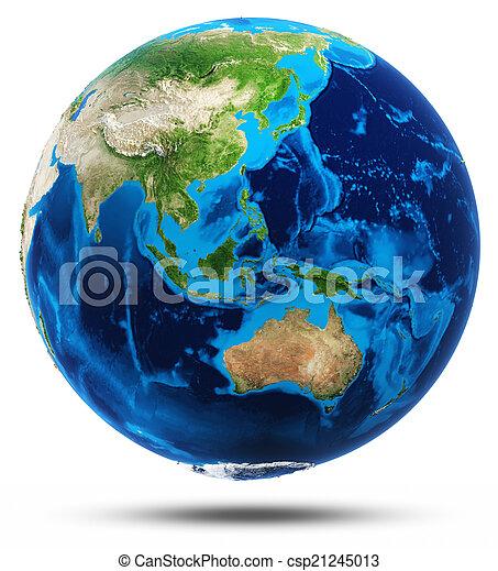 Australia y el sudeste de Asia real alivio de montañas - csp21245013