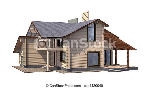 verdadero, timber., propiedad, pintura, de madera, residencial, casa, fondo., aislamiento, blanco, render., modelo, 3d - csp4430040