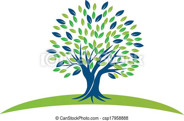 Árbol con hojas verdes azules logotipo - csp17958888