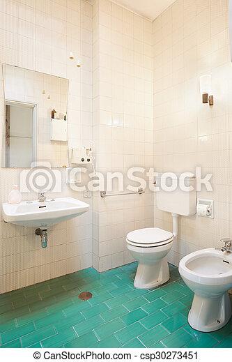 Verde Banheiro Antigas Chão